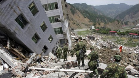 Collapsed buildings in Sichuan province, May 2008 (AP)
