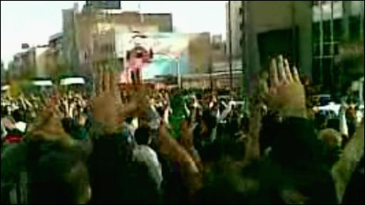 Mobile phone footage of protests