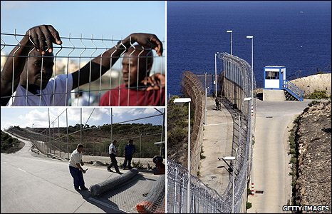 Security fence on Spanish enclave of Ceuta