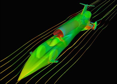 Computer modelling of the new body shape (Bloodhound SSC)