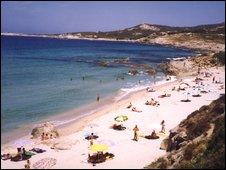 a beach in corsica