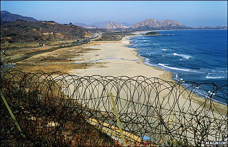 Korean border into North Korea