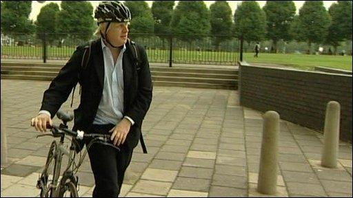 London Mayor Boris Johnson with his bike
