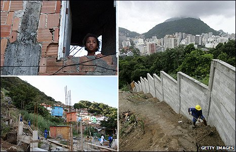 Walls constructed around the favela in Rio de Janiero, Brazil