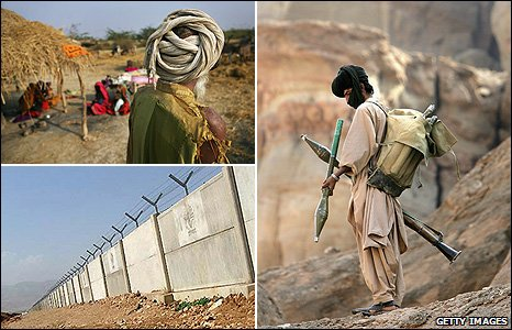 Balochistani tribesmen (top left), militant in Balochistan (right), Pakistan-Iran border (bottom left)