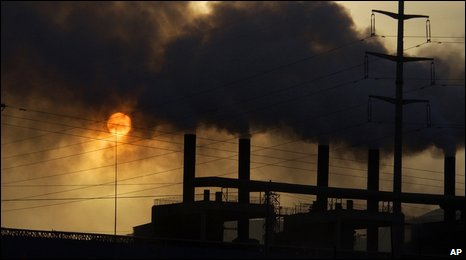 Smoke billows from a factory in China