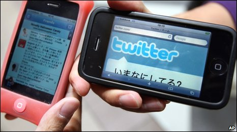 Twitter and Facebook on mobile phones
