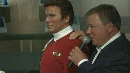 William Shatner with his Star Trek-era wax double