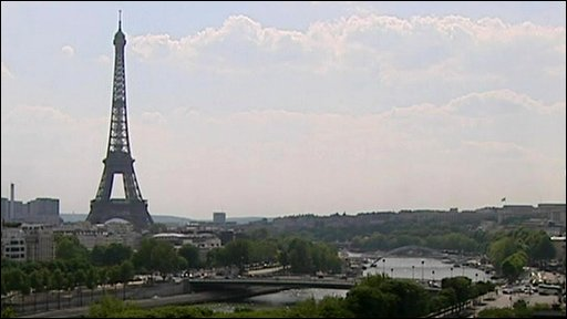 The Eiffel Tower and the River Seine
