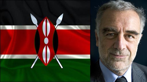 Kenyan flag alongside photo of Louis Moreno Ocampo