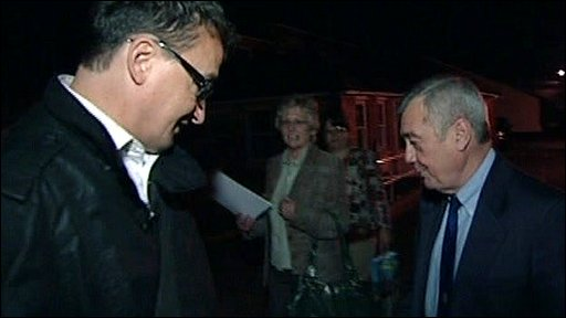 The chairman of the Town Estate, Ken Saunders refusing to talk to BBC Inside Out's Tony Roe