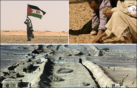Sahrawi independence activist (top right) and men looking for landmines (top right - images David Siro), Moroccan soldiers on the border (bottom)