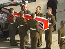 The body of Staff Sergeant Olaf Schmid arrives at RAF Lyneham