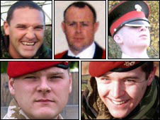 From top left: Warrant Officer Darren Chant, Sgt Matthew Telford and Guardsman Jimmy Major. From bottom left: Cpl Steven Boote and Cpl Nicholas Webster-Smith