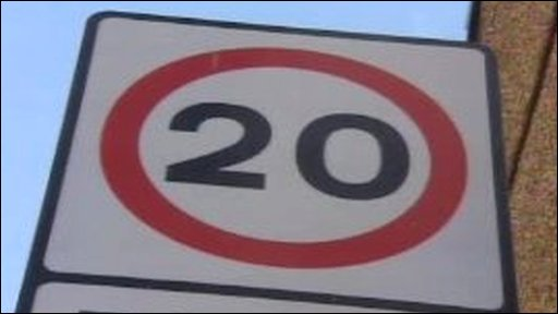 Twenty mile per hour speed limit sign