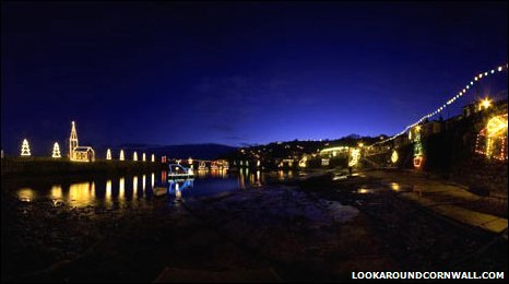 Illuminations light up the village of Mousehole