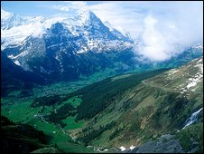 Alps and valley, Switzerland (Image: BBC)