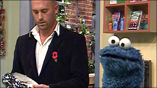 Matthew Stadlen and Cookie Monster
