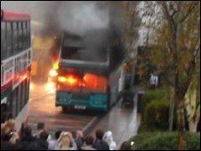 Burning bus outside Runshaw College courtesy of Grace Lund