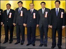From left to right: Cambodian Prime Minister Hun Sen, Laotian Prime Minister Bouasone Bouphavanh, Myanmar Prime Minister Gen Thein Sein, Thai Prime Minister Abhisit Vejjajiva and Vietnamese Prime Minister Nguyen Tan Dung in Tokyo, Japan, for Mekong River summit with Japanese Prime Minister Yukio Hatoyama - 6 November 2009