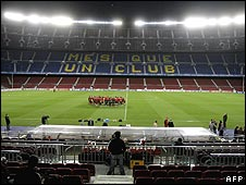View of the famous Mes Que Un Club slogan at Barcelona's Nou Camp stadium