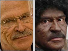 Composite image of Gunter Wallraff as himself, left and as Kwami Ogonno
