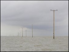 telegraph poles in sea