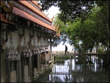 walkway to submerged temple