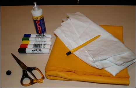 The equipment needed to make the hand puppet