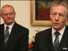Northern Ireland First Minister Peter Robinson (right) and Deputy First Minister Martin McGuinness (left)