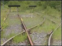 Disused railtrack in south Wales