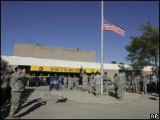 Flag flying at half mast at Fort Hood
