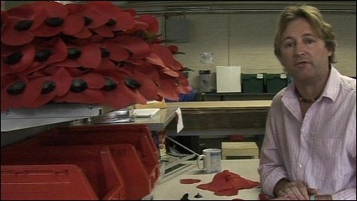 Man in poppy factory