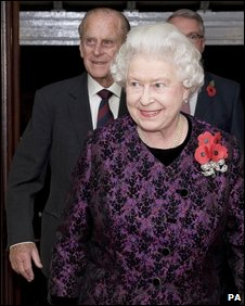 The Queen and Prince Philip arriving at Festival of Remembrance