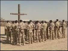 Troops at Remembrance Sunday service in Afghanistan