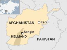 Map showing Sangin in Afghanistan