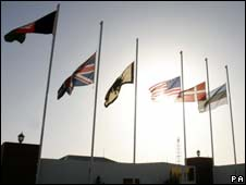 Flags at half mast at the main British base in Afghanistan