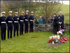 Royal Marines lining the graveside of L/Cpl Robert Martin Richards