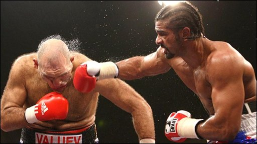 David Haye lands a right hook