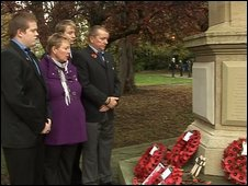 Cyrus Thatcher's family at the war memorial
