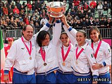 Italy team captain Corrado Barazzutti and players Francesca Schiavone, Roberta Vinci, Sara Errani and Flavia Pennetta
