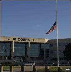 "flag flies at half mast in front of the Army""s III Corps headquarters at Fort Hood, Texas, Friday, Nov. 6, 2009"