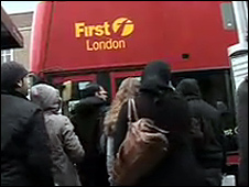 Commuters outside Upton Park Tube station