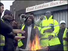 Bus drivers' picket line in east London