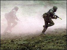 Troops in training