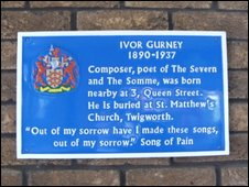 Blue plaque commemorating the Gloucester poet and composer Ivor Gurney