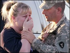 A US soldier and his wife outside Fort Hood