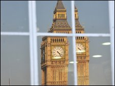 Big Ben, the Houses of Parliament, London, reflected in a window