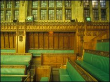 Interior of the chamber of the House of Commons