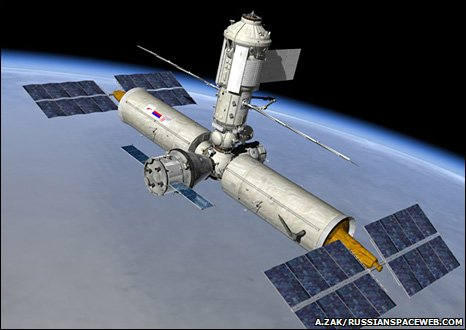 Artist's impression of a new station formed from Russian ISS modules (A. Zak/Russianspaceweb.com)